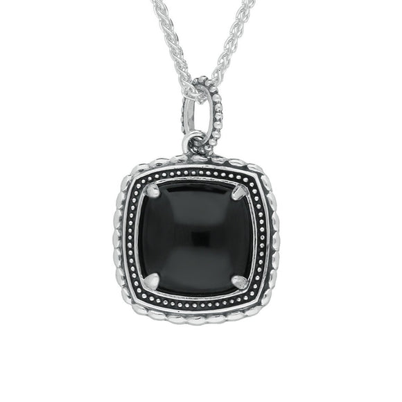 Silver Whitby Jet Oxidised Square Pattern Necklace P2603
