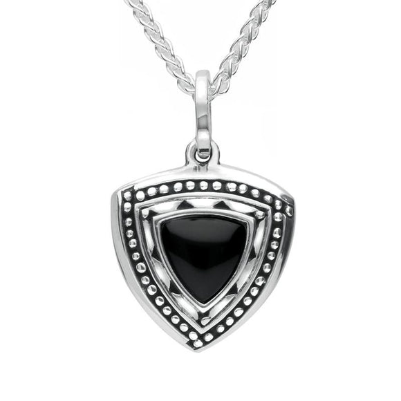 Silver Whitby Jet Oxidised Triangle Shield Necklace P2552