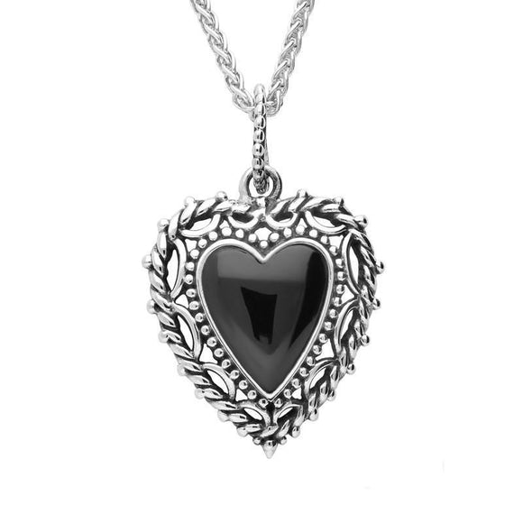 Silver Whitby Jet Pattern Edge Heart Necklace P2593