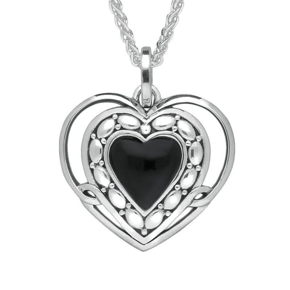 Silver Whitby Jet Pattern Open Heart Necklace P2623