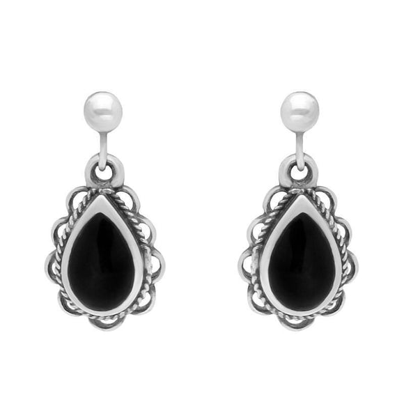 Silver Whitby Jet Pear Rope Frill Drop Earrings E161
