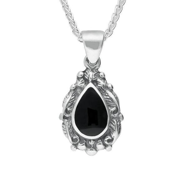Silver Whitby Jet Pear Shaped Leaf Drop Necklace P051