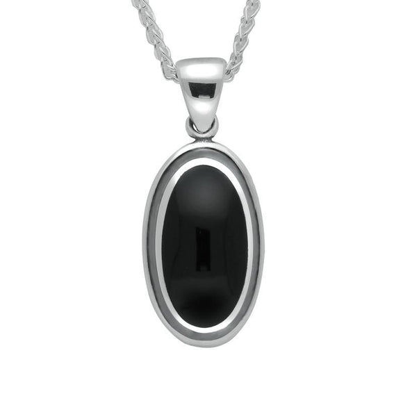 Silver Whitby Jet Ribbed Oval Necklace P322