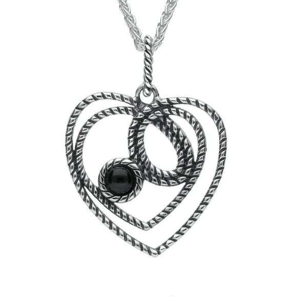 Silver Whitby Jet Rope Heart Stone Necklace P2561