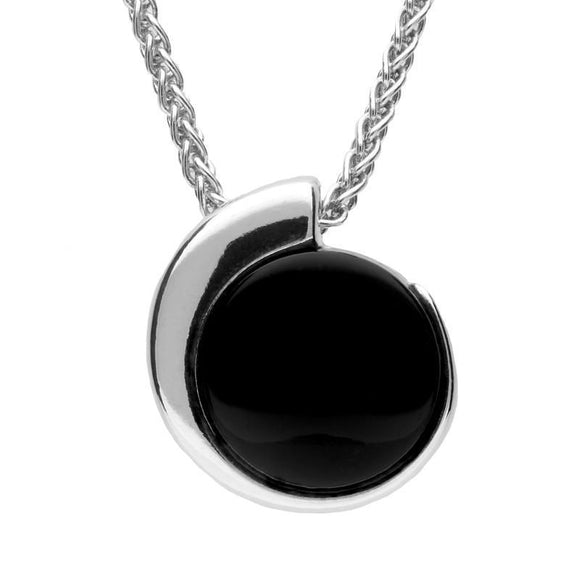 Silver Whitby Jet Round Part Swirl Necklace P2351