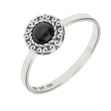 Silver Whitby Jet Round Rope Curved Edge Ring R740