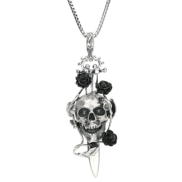 Silver Whitby Jet Skull Dagger Rose Necklace P2873C