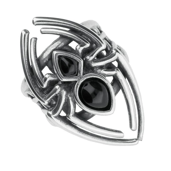 Silver Whitby Jet Small Spider Web Ring R944