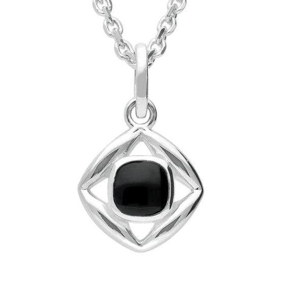 Silver Whitby Jet Stone Open Square Necklace P2541