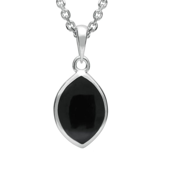 Silver Whitby Jet Tear Shape Necklace P2600