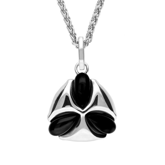 Silver Whitby Jet Three Stone Petal Necklace P2553