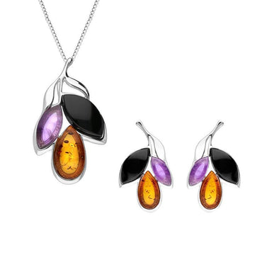 Sterling Silver Whitby Jet Amethyst Amber Three Stone Leaf Two Piece Set