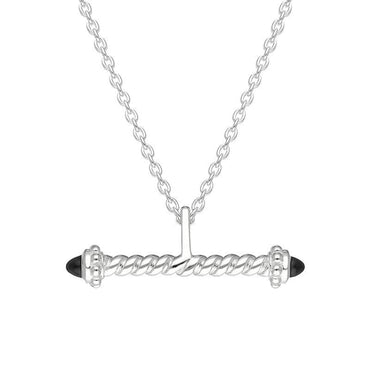 Sterling Silver Whitby Jet Twisted T Bar Necklace P3534C
