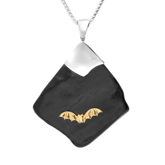 Sterling Silver 9ct Yellow Gold Whitby Jet Rough Abstract Bat Necklace PUNQ0005551