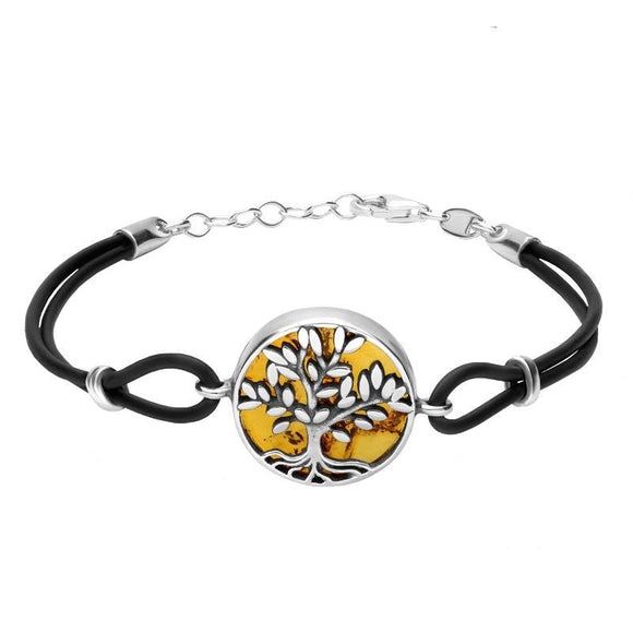 Sterling Silver Amber Cord Round Large Leaves Tree of Life Bracelet B1141