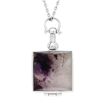 Sterling Silver Blue John Glass Square Locket Necklace P3296