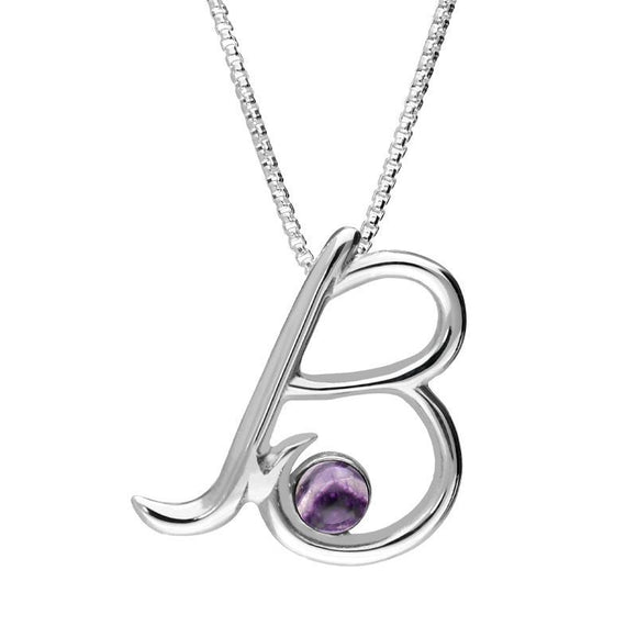 Sterling Silver Blue John Love Letters Initial B Necklace P3449C