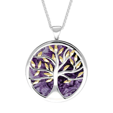 Sterling Silver Yellow Gold Plated Blue John Large Round Tree of Life Necklace P3418