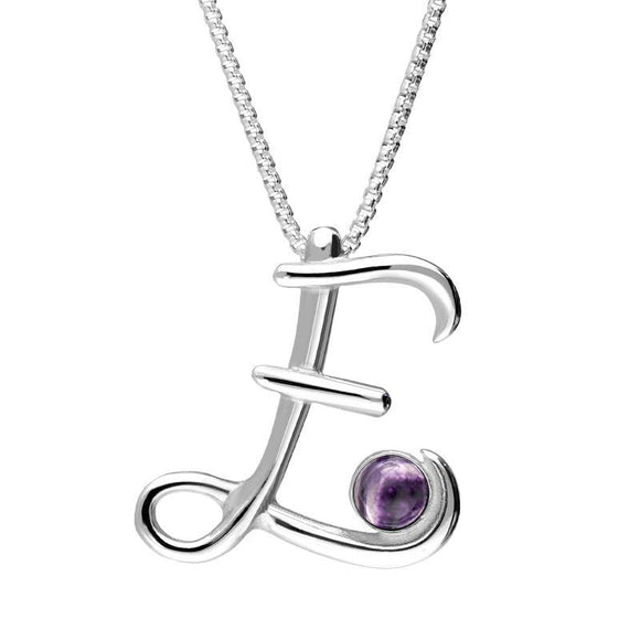 Sterling Silver Blue John Love Letters Initial E Necklace P3452C