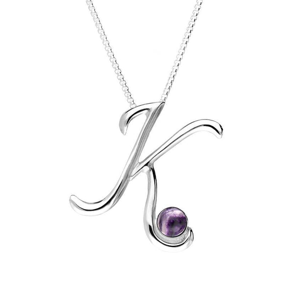 Sterling Silver Blue John Love Letters Initial K Necklace