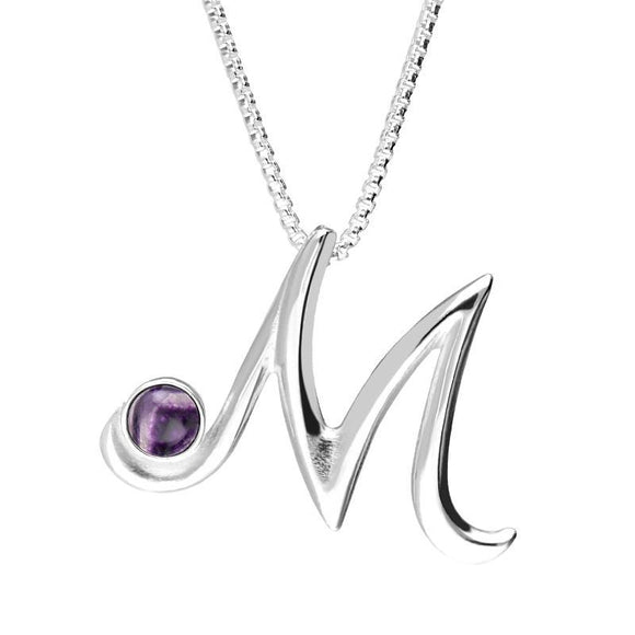 Sterling Silver Blue John Love Letters Initial M Necklace P3460C