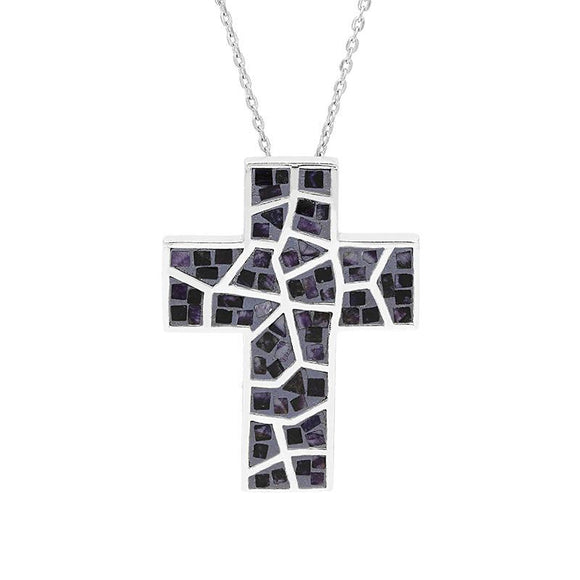 Sterling Silver Blue John Mosaic Set Cross Necklace P1185