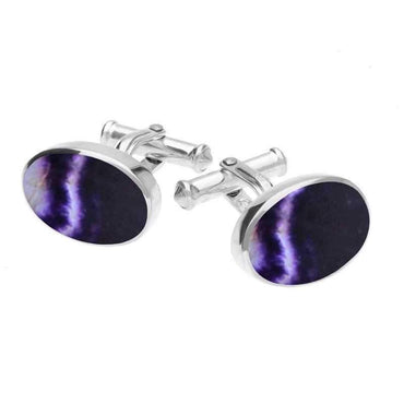Sterling Silver Blue John Oval Cushion Cufflinks CL127