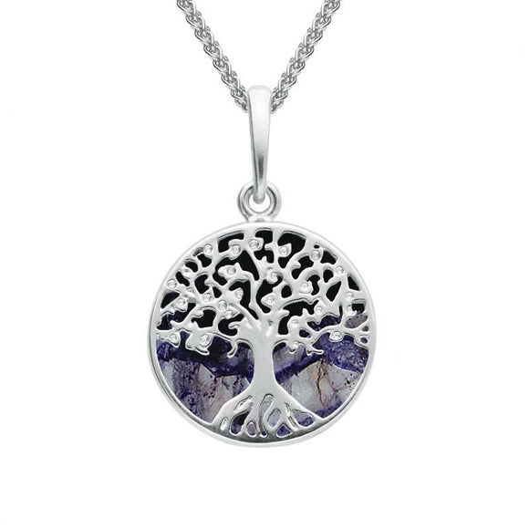 Sterling Silver Blue John Small Round Tree Of Life Necklace P3339