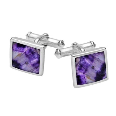Sterling Silver Blue John Square Flat Cufflinks. CL098.