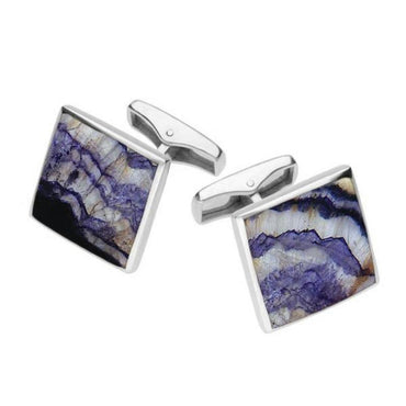 Sterling Silver Blue John Square Shaped Cufflinks, CL417.