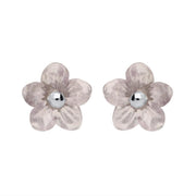 Sterling Silver Blue John Tuberose Pansy Stud Earrings, E2152.