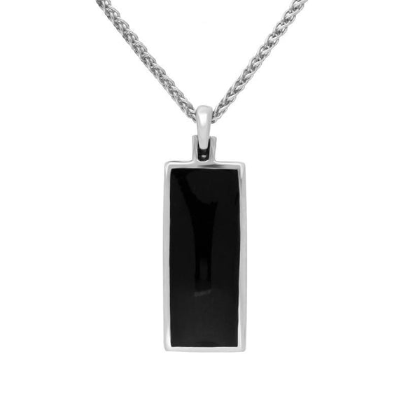 Sterling Silver Blue John Whitby Jet Double Sided Fob Necklace. p831.