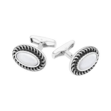 Sterling Silver Carrara Marble Crescent Cufflinks CL538