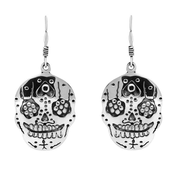 Sterling Silver Day of the Dead Skull Hook Earrings. E2298.