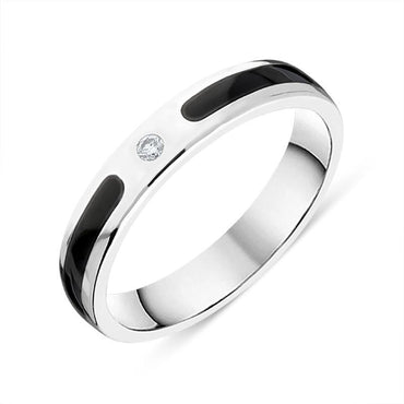 Sterling Silver Whitby Jet Diamond 4mm Patterned Wedding Band Ring R1194_4