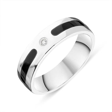 Sterling Silver Whitby Jet Diamond 6mm Patterned Wedding Band Ring R1195_6