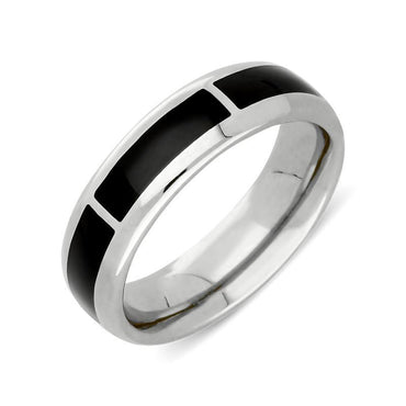 Sterling Silver Whitby Jet 1mm Gap Channel 8mm Wedding Band Ring. R587.