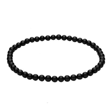 Whitby Jet 5mm Bead Elasticated Bracelet