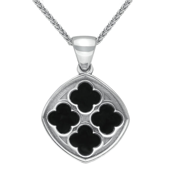 Sterling Silver Whitby Jet Abbey Window Small Cushion Necklace P2455