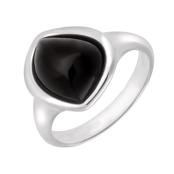 Sterling Silver Whitby Jet Acorn Shaped Ring. R912.