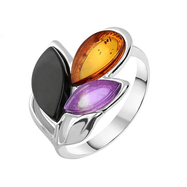 Sterling Silver Whitby Jet Amethyst Amber Three Stone Leaf Ring R1206