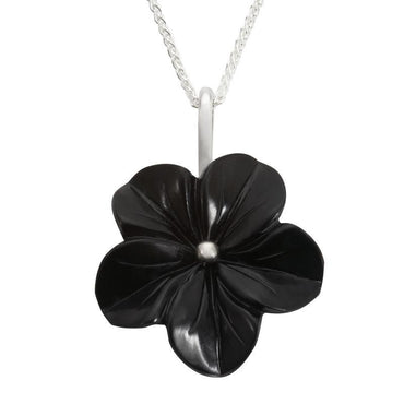 Sterling Silver Whitby Jet Carved Flower Necklace. P1783