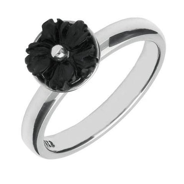 Sterling Silver Whitby Jet Carved Flower Ring. R630