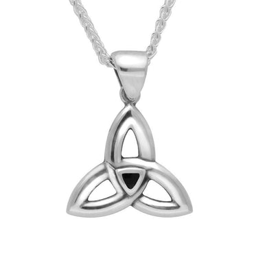 Sterling Silver Whitby Jet Celtic Knot Pendant Necklace P1199