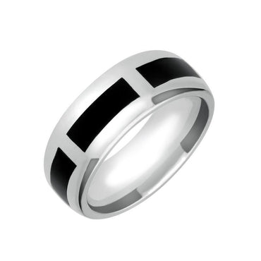 Sterling Silver Whitby Jet Channel 8mm Wedding Band Ring R585