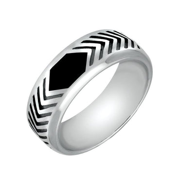 Sterling Silver Whitby Jet Chevron Patterned 8mm Band Ring. R522
