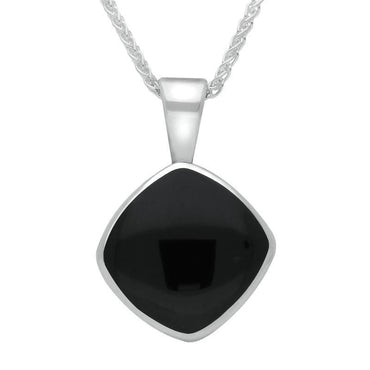 Sterling Silver Whitby Jet Cushion Shaped Necklace P021