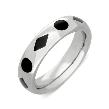 Sterling Silver Whitby Jet Diamond Dot Pattern 6mm Wedding Band. R584