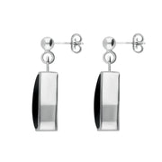 Sterling Silver Whitby Jet Dinky Barrel Drop Earrings E228
