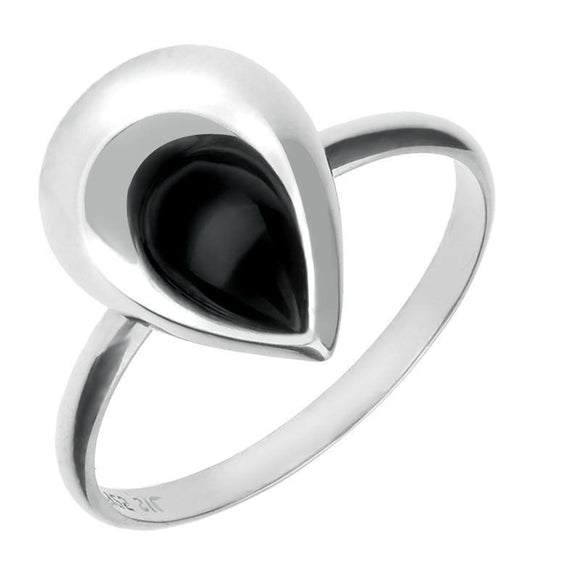 Sterling Silver Whitby Jet Half Stone Tear Drop Ring R875